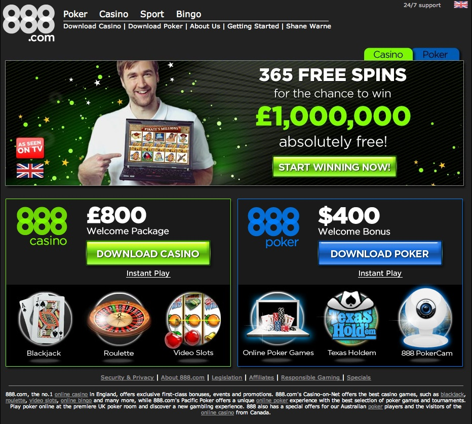 888 casino free spin