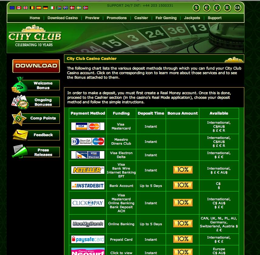 city club casino support