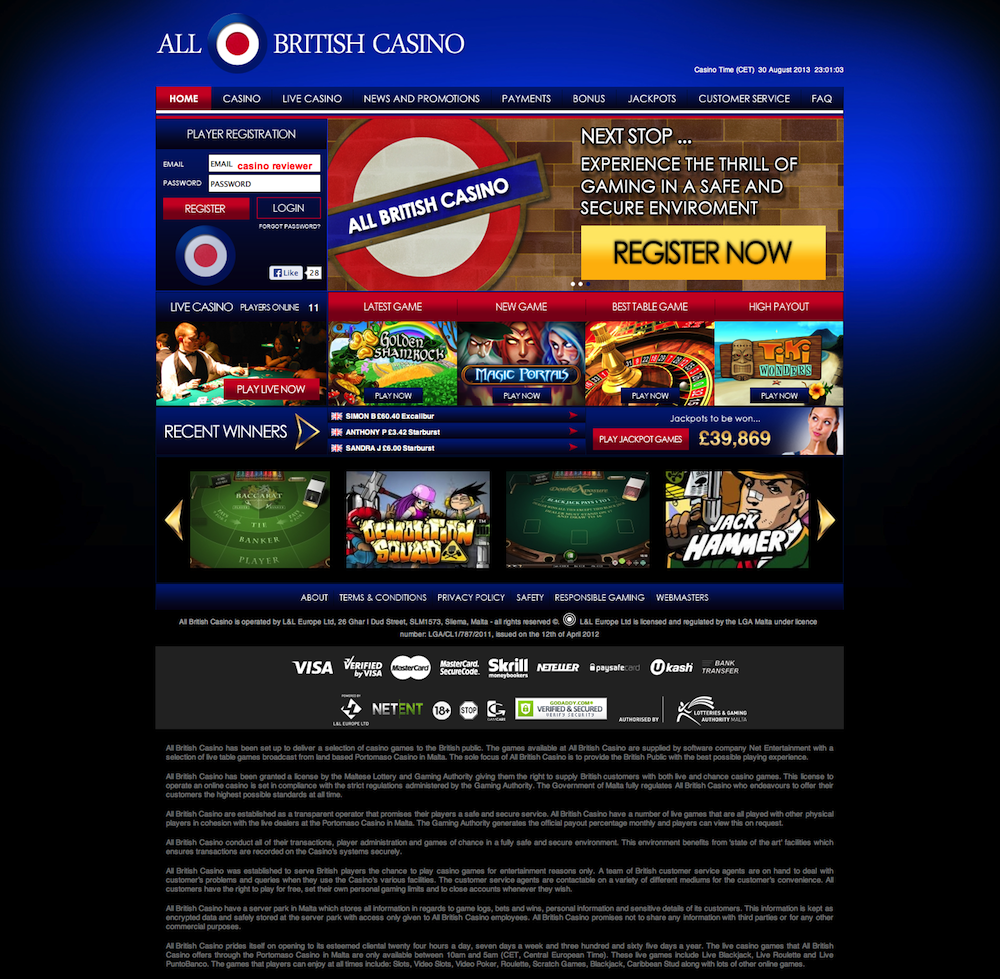 All British Casino Review, Ratings and User Comments