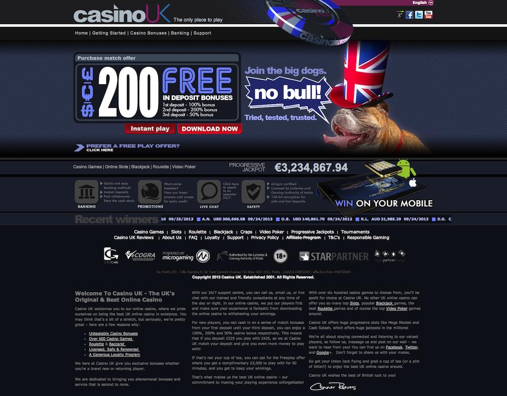 Casino signup bonus no deposit uk